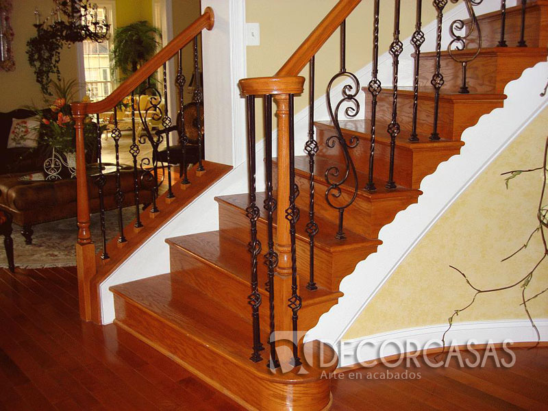Escaleras escaleras de madera per escaleras revestidas for Barandas de madera para escaleras interiores