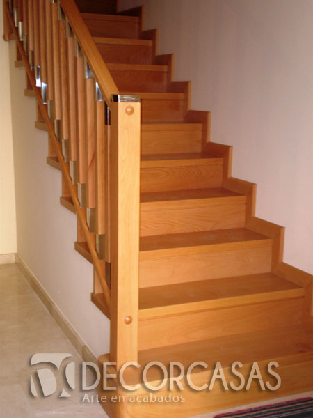Escaleras escaleras de madera per escaleras revestidas - Pasamanos de madera modernos ...